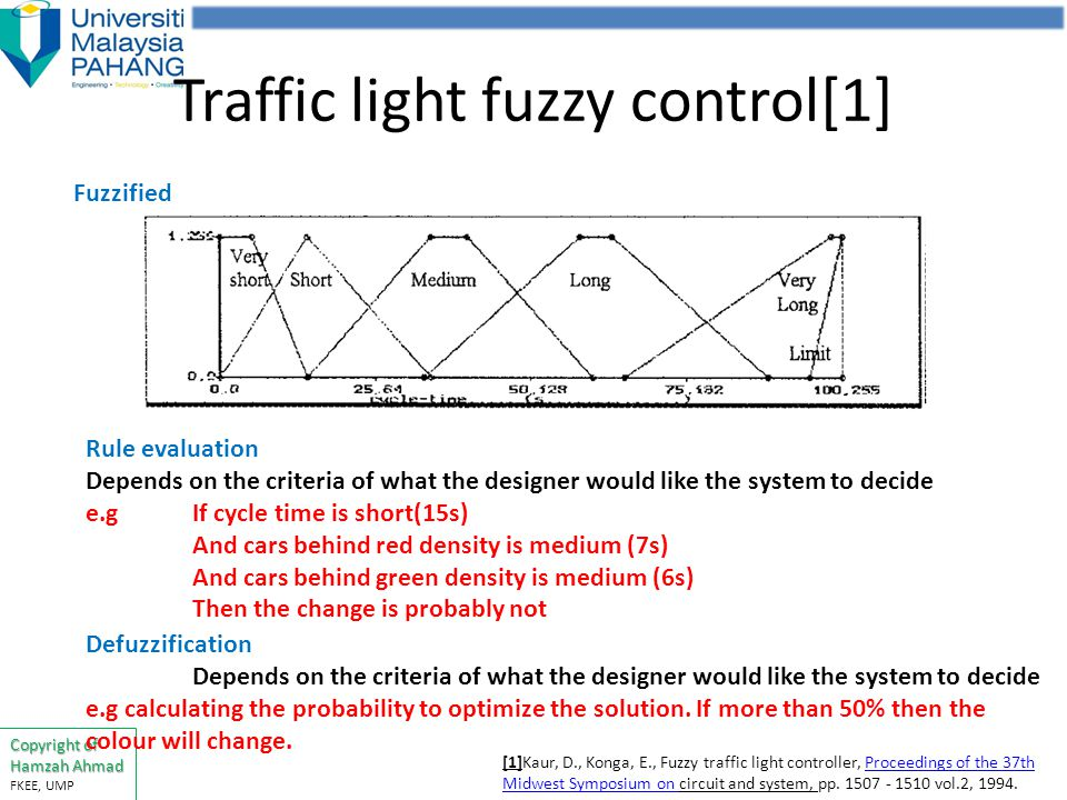fuzzy traffic light controller The fuzzy traffic controller operates by determining whether to extend or terminate the current green phase, based on a set of fuzzy rules and then the fuzzy logic and traffic control the concept of fuzzy logic was conceived by fuzzy rules compares the traffic conditions with the current green phase and traffic conditions with the next.